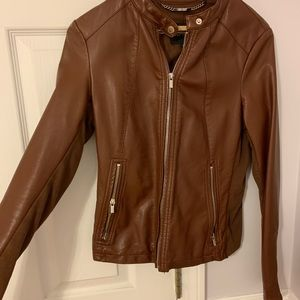 Brown leather jacket lightly worn